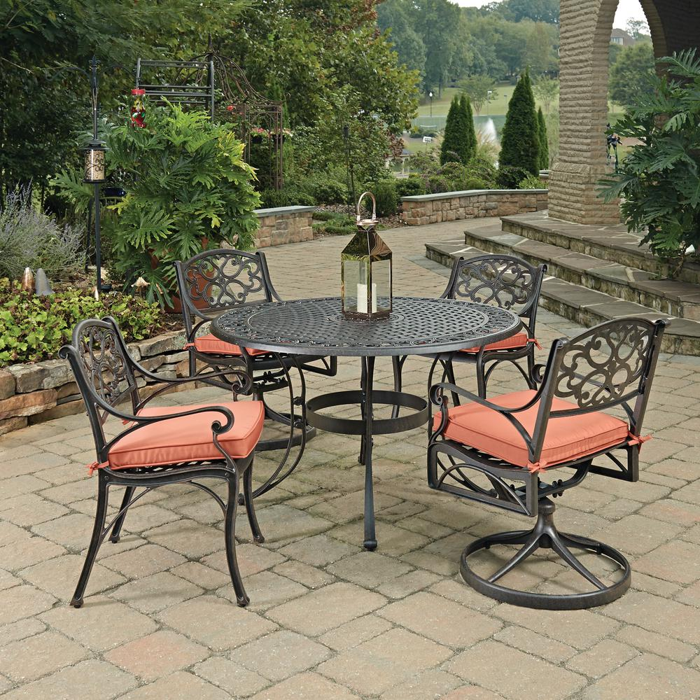 Home Styles Biscayne Rust Bronze 5 Piece Cast Aluminum Outdoor Dining Set  With Coral Cushions