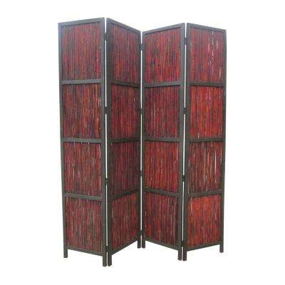 Exceptional Brown 4 Panel Room Divider