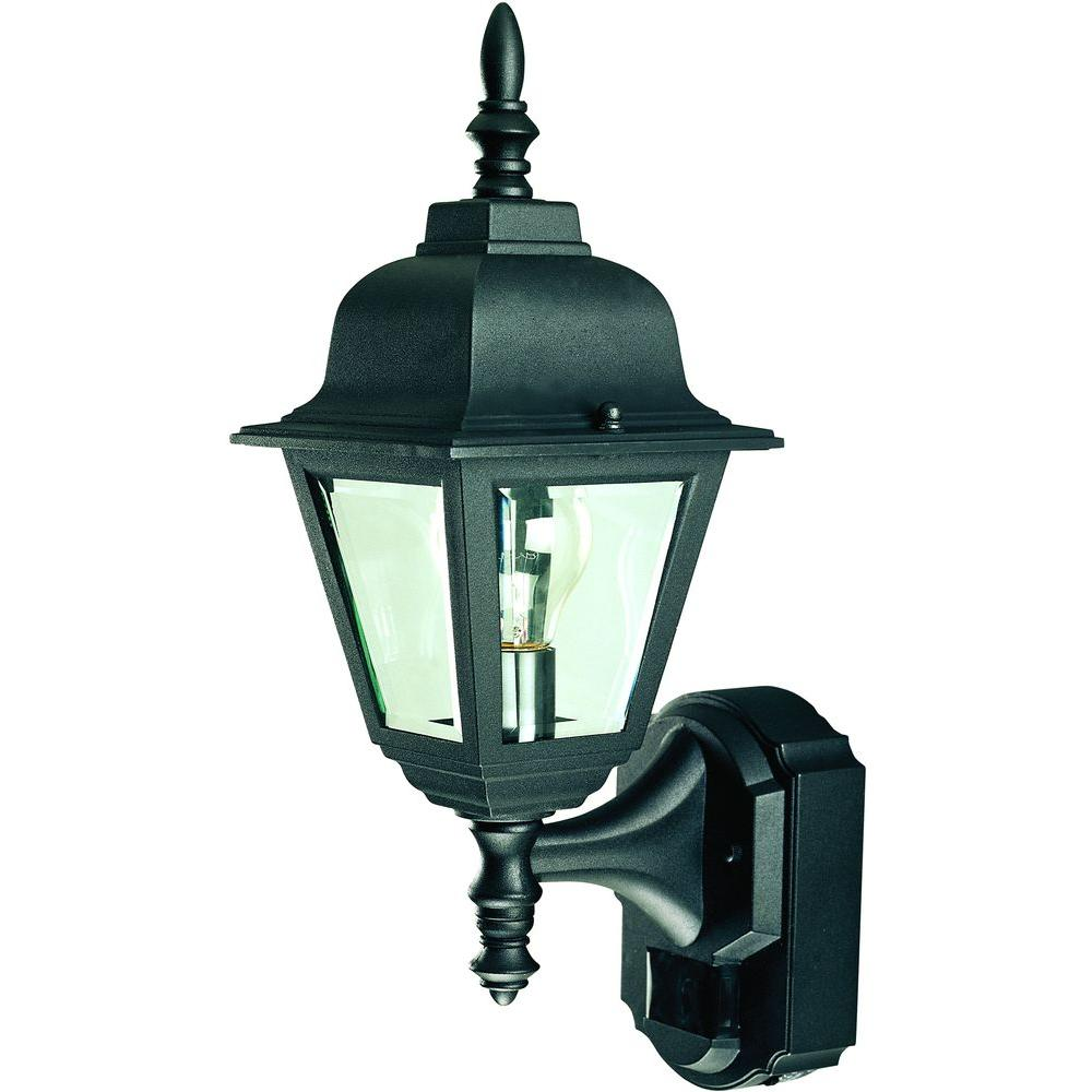 Heath Zenith 180 Degree Black Country Cottage Wall Lantern Sconce with Clear Beveled Glass