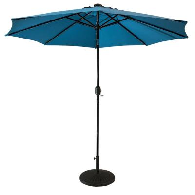 9 ft. Steel Market Solar Lighted 8-Rib Round Patio Umbrella in Teal