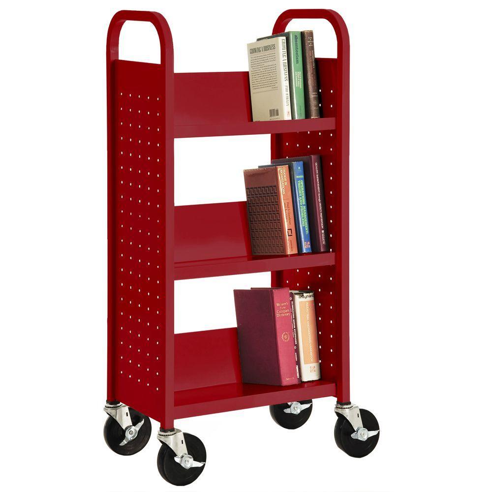 Sandusky Fire Engine Red Mobile Steel Bookcase