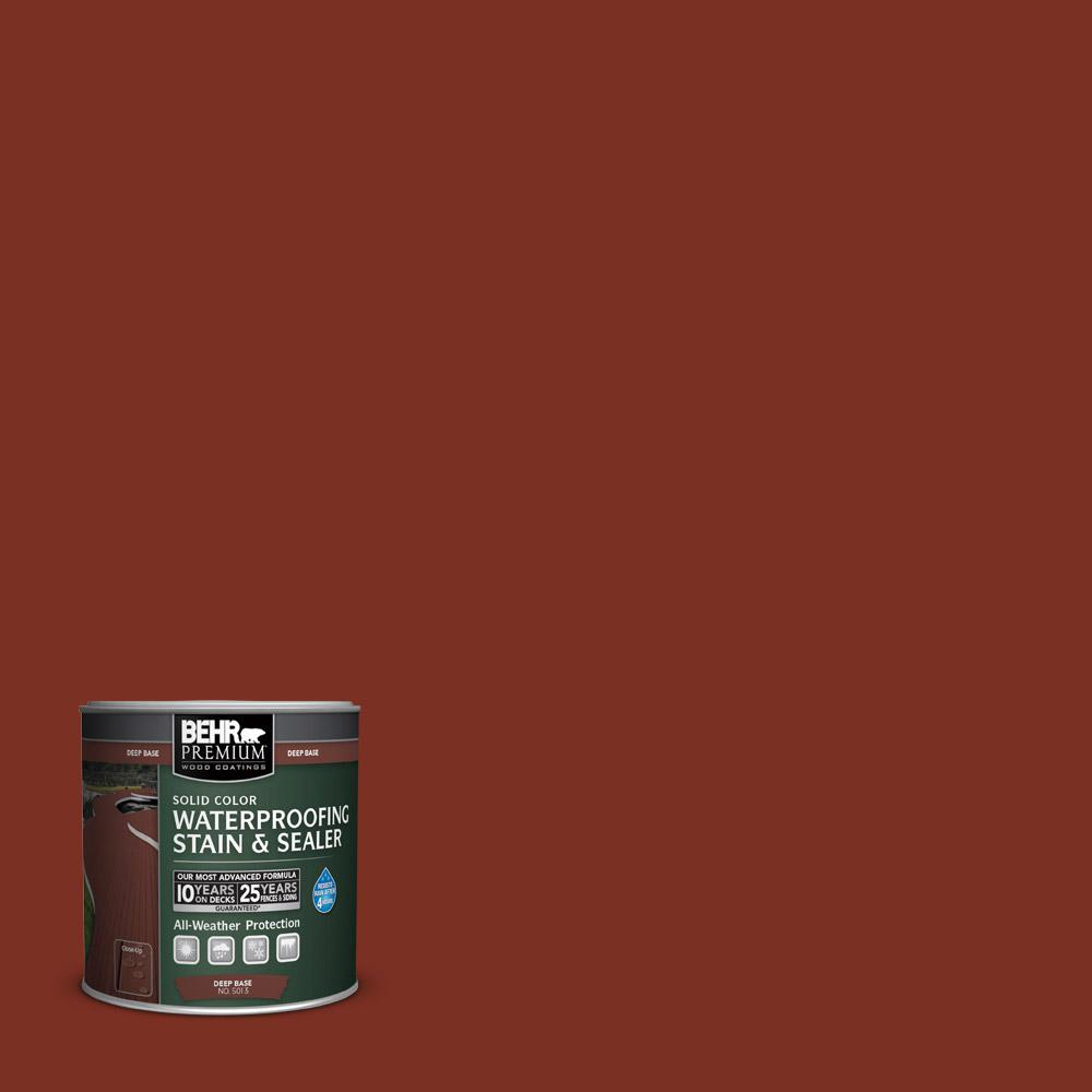 Behr Premium 8 Oz Sc330 Redwood Solid Color Waterproofing Stain And Sealer Sample 501316 The