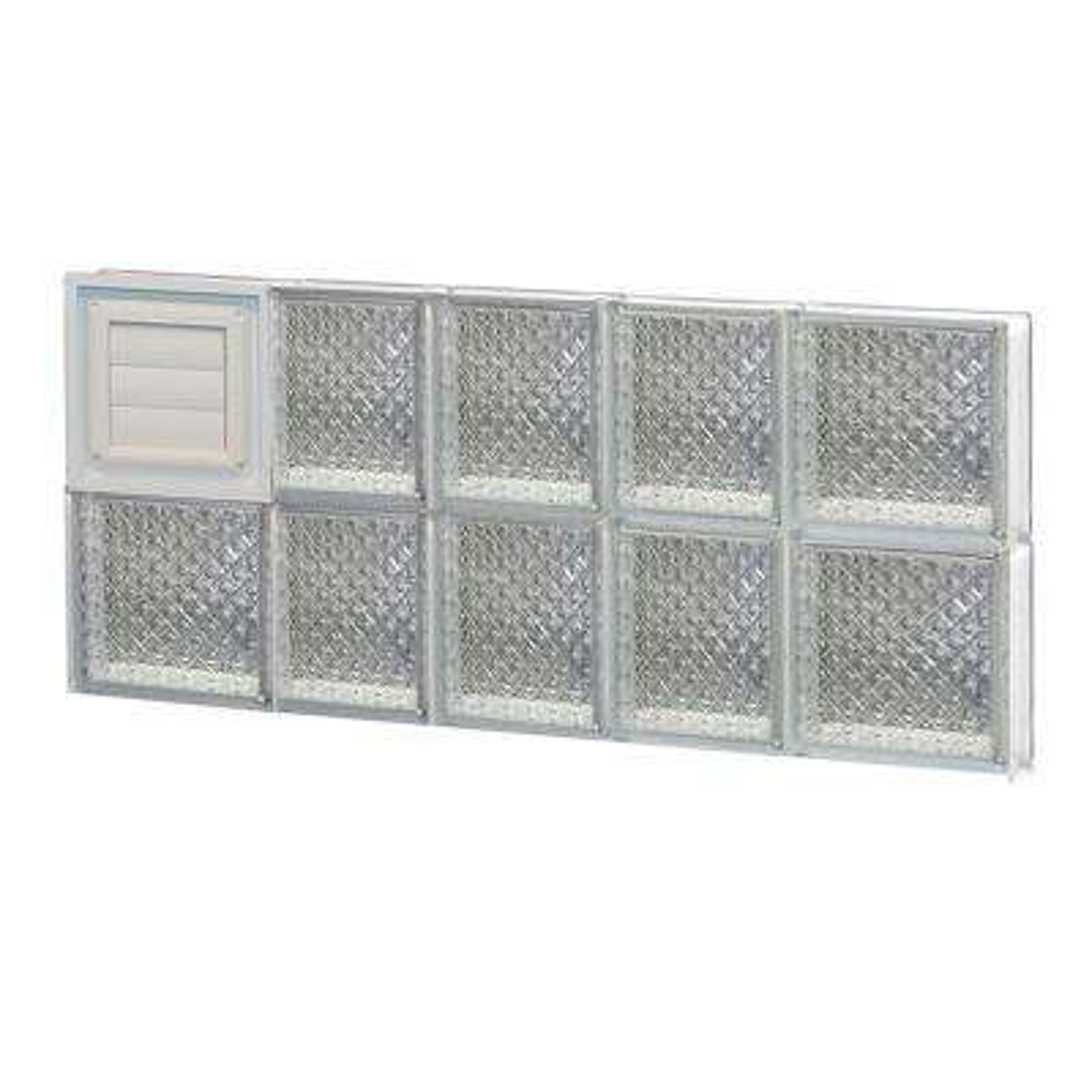 32.75 in. x 15.5 in. x 3.125 in. Frameless Diamond Pattern Glass Block Window with Dryer Vent