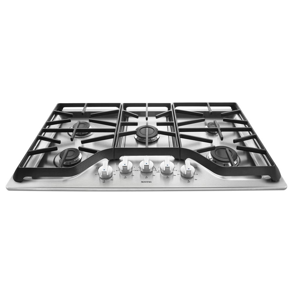 Superb Maytag 36 In. Gas Cooktop In Stainless Steel With 5 Burners Including 15000  BTU Power Burner MGC7536DS   The Home Depot