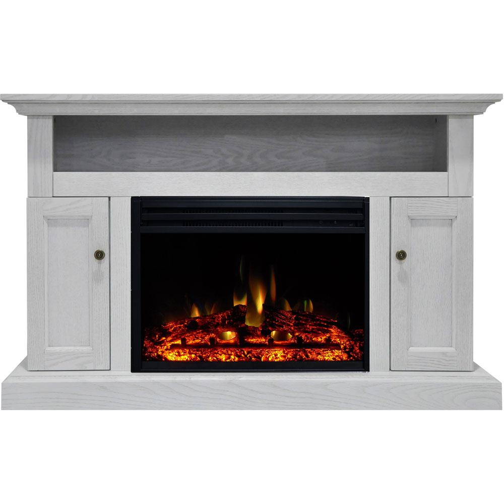 Sorrento 47 in. Electric Fireplace Heater TV Stand in White with