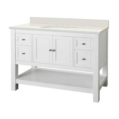 Gazette 49 in. W x 22 in. D Vanity in White with Engineered Marble Vanity Top in Winter White with White Sink