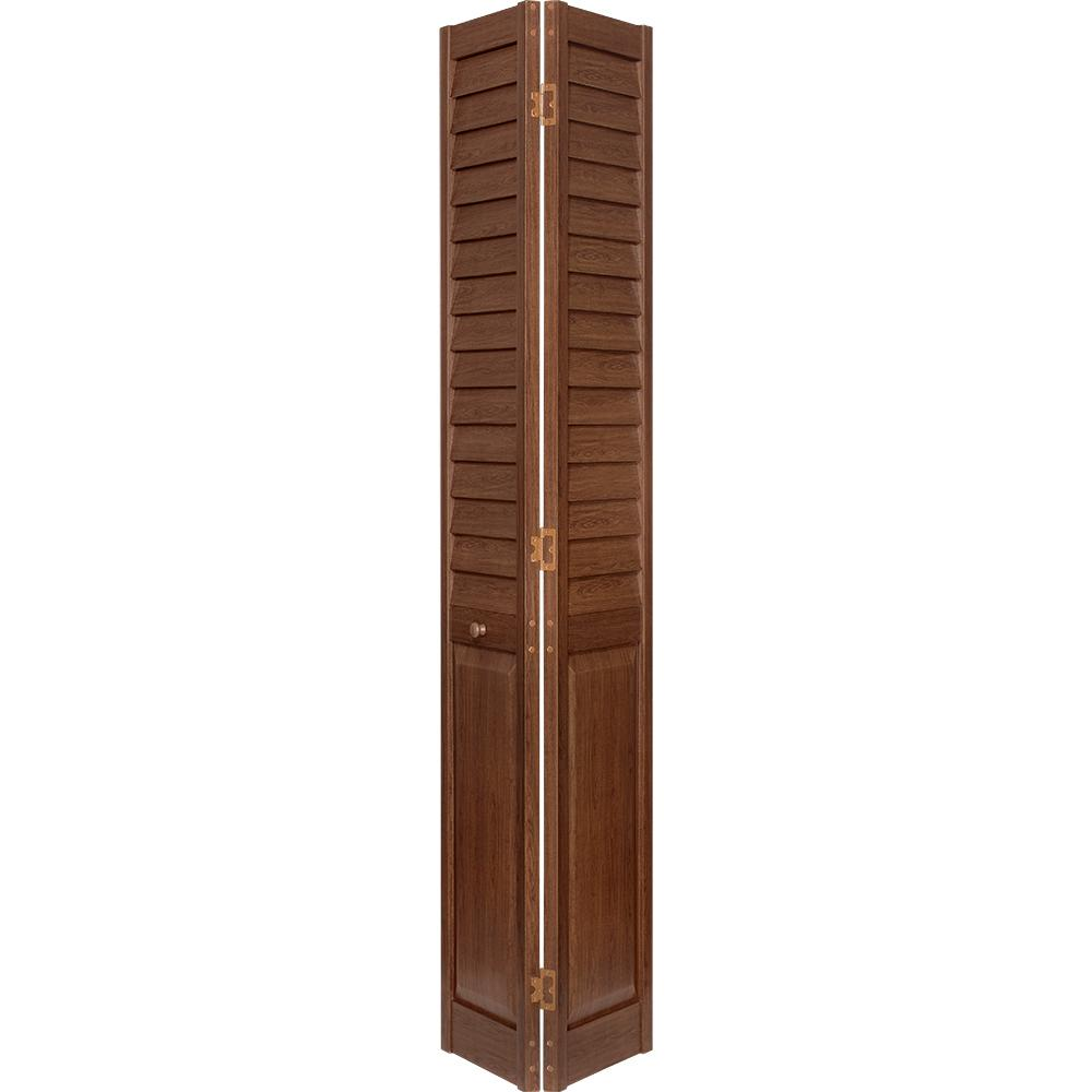 18 in. x 80 in. 3 in. Louver/Panel Dark Teak PVC