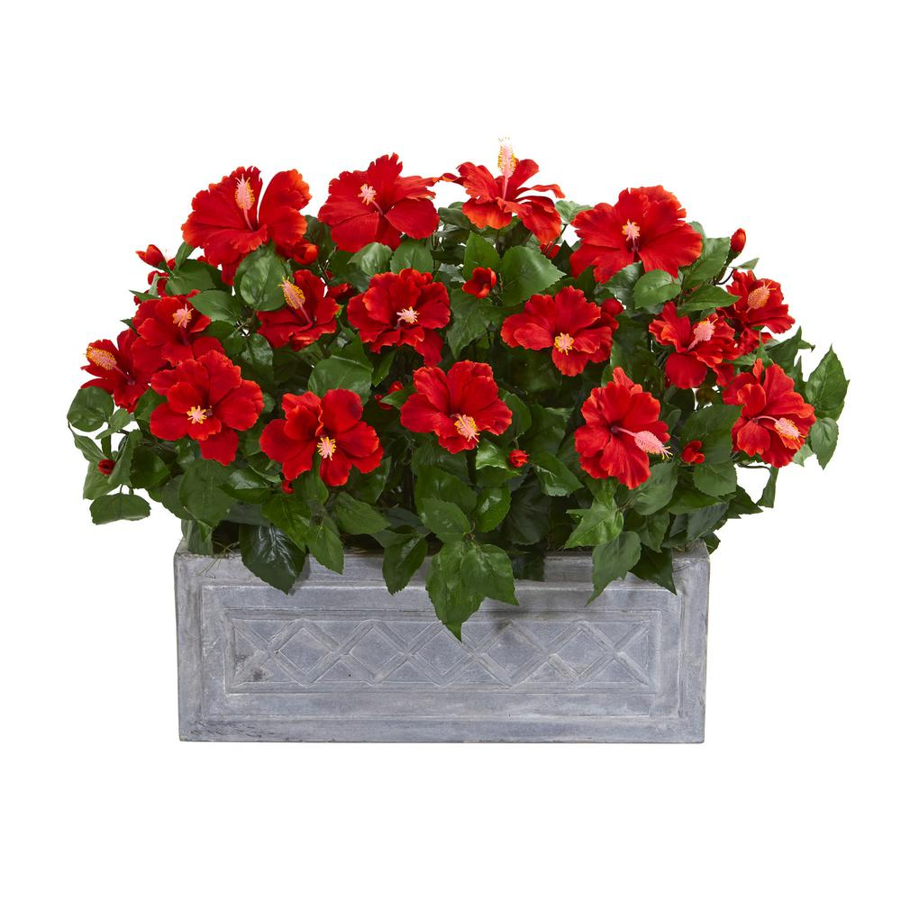 Nearly Natural Indoor Hibiscus Artificial Plant In Stone Planter