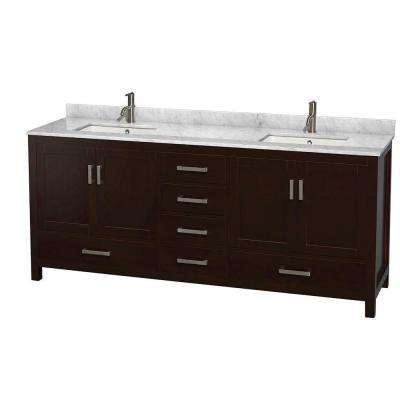 Sheffield 80 in. Double Vanity in Espresso with Marble Vanity Top in Carrara White