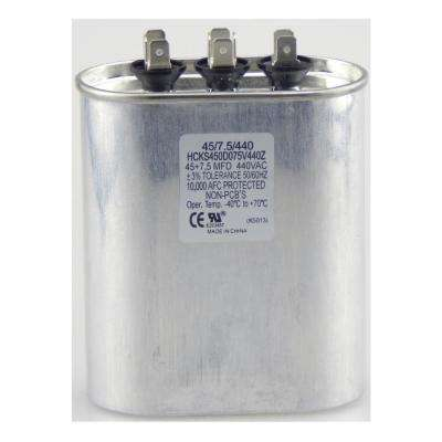 440-Volt 45/7.5 MFD Dual Rated Motor Run Oval Capacitor