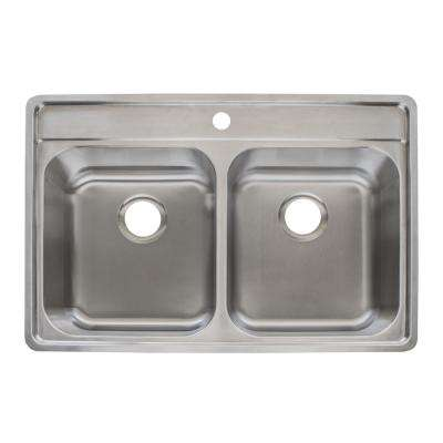 Evolution Fast-In Mount Drop-In Stainless Steel 33.5 in. 1-Hole Double Bowl Kitchen Sink in Satin Stainless Steel