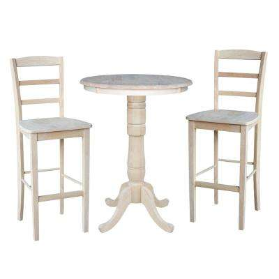 Solid Wood 3-Piece Ready to Finish Dining Set