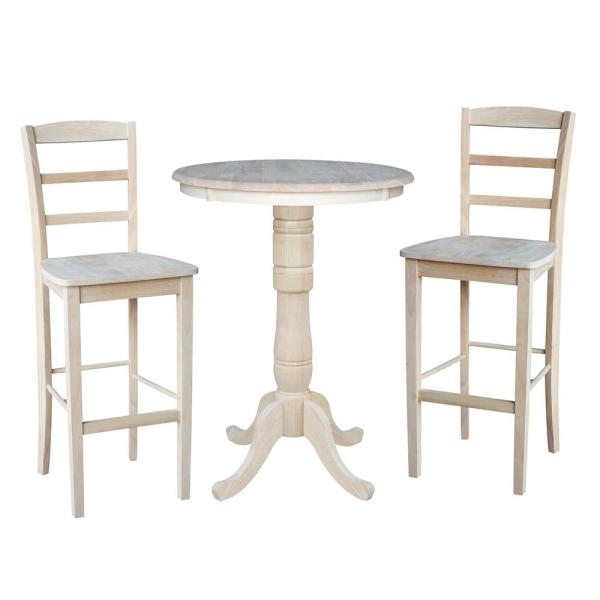 Hampton 3-Piece 30 in. Unfinished Round Solid Wood Bar Height Dining Set with Madrid Stools