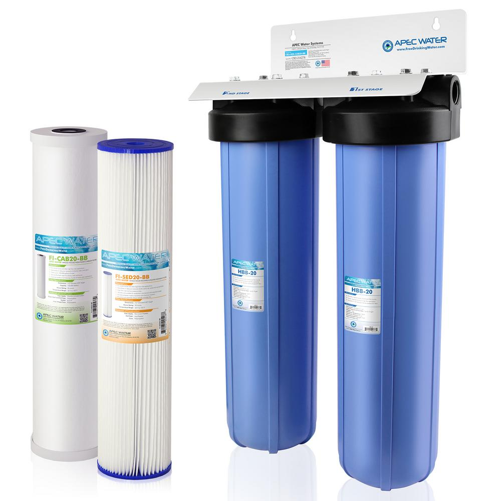 """APEC 20/"""" Big Blue Whole House Water Filtration System With Carbon Filter"""