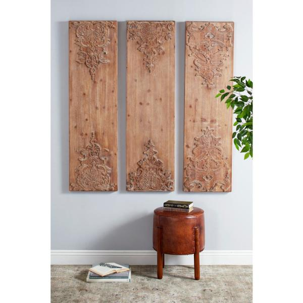 Hand Carved Antique And Acanthus Wood Wall Art Set Of 3