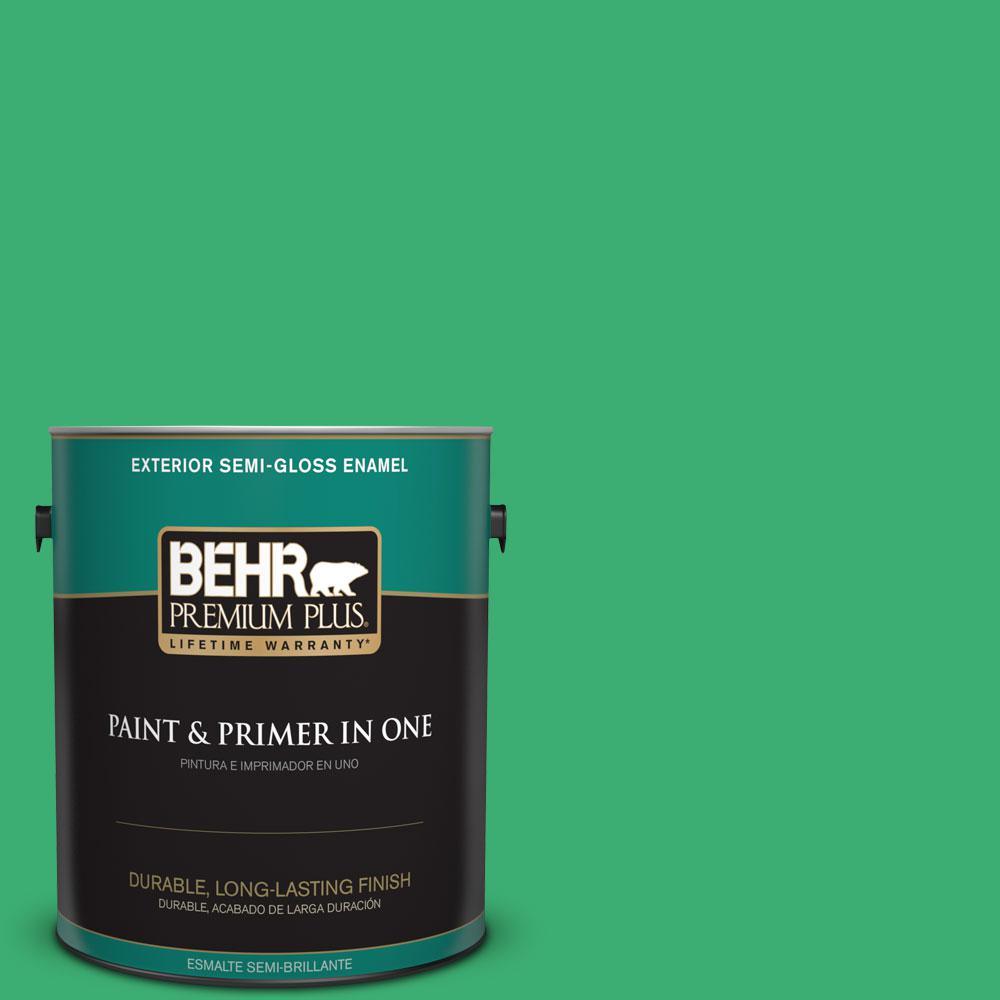 1-gal. #460B-5 Fresh Greens Semi-Gloss Enamel Exterior Paint
