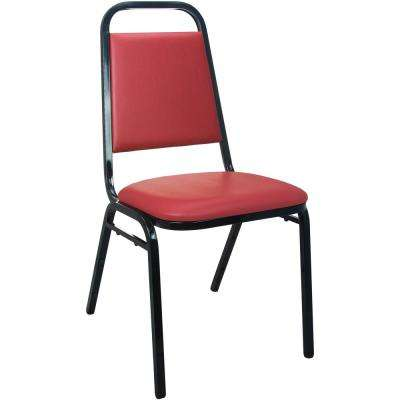 Burgundy Vinyl-padded Stackable Banquet Chairs (Set of 2)