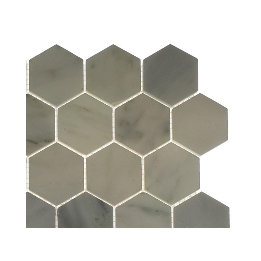 Splashback Tile Oriental Hexagon Marble Floor and Wall Tile - 3 in ...