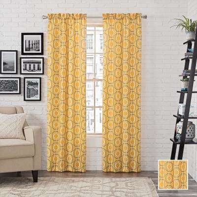 Arlene 84 in. L Polyester Rod Pocket Drapery Panel Pair in Yellow
