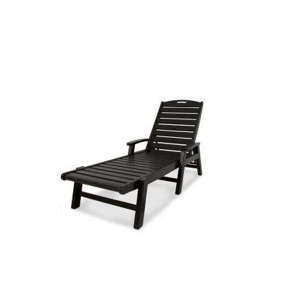 Yacht Club Charcoal Black Patio Stackable Chaise