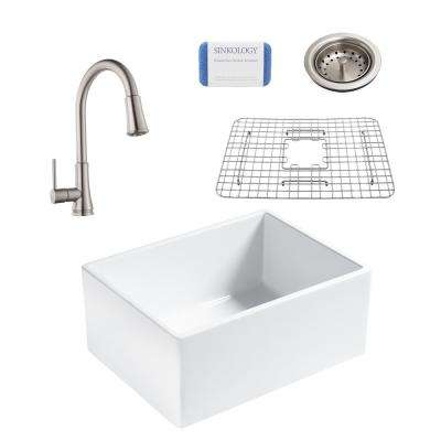 Wilcox All-in-One Farmhouse Apron Fireclay 24 in. Single Bowl Kitchen Sink with Stainless Faucet and Drain