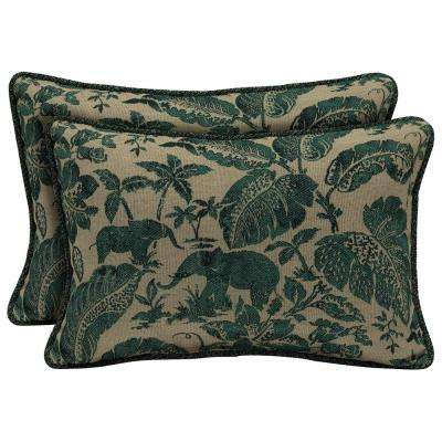 Casablanca Elephant Lumbar Outdoor Throw Pillow with Welt (2-Pack)
