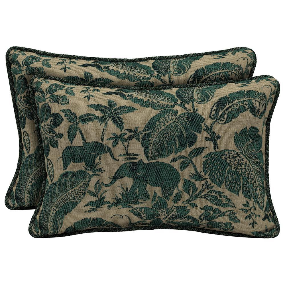 Casablanca Elephant Lumbar Outdoor Throw Pillow with Welt (2-Pack)