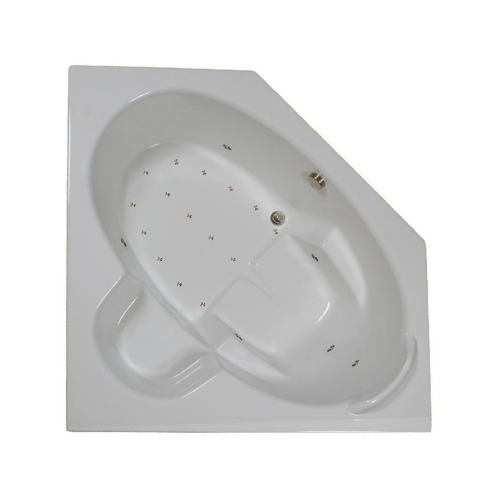 60 in. Corner Drop-in Air Bathtub in Bone