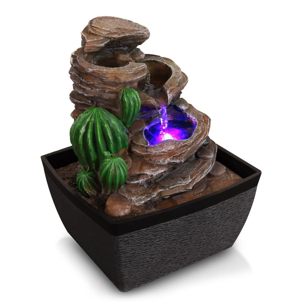 Serenelife Relaxing Tabletop Decoration Water Fountain Sltwf50led The Home Depot