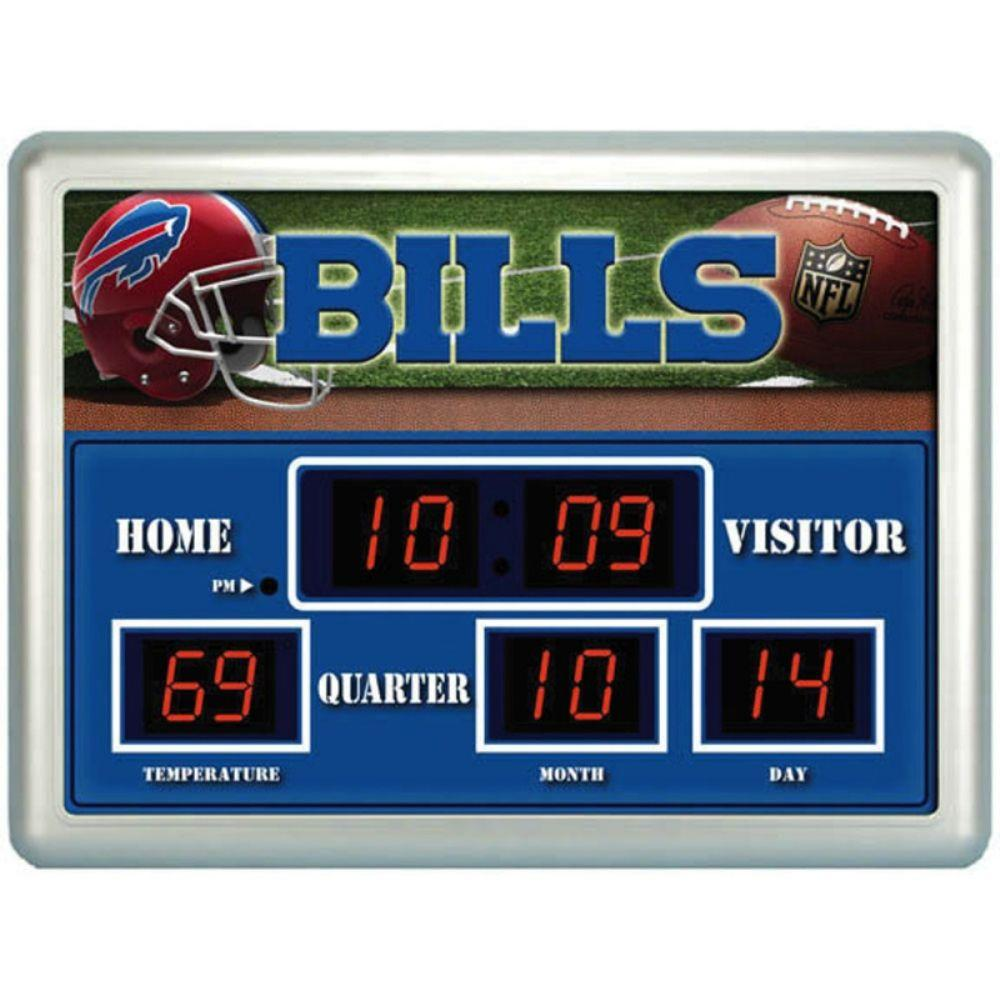 null Buffalo Bills 14 in. x 19 in. Scoreboard Clock with Temperature
