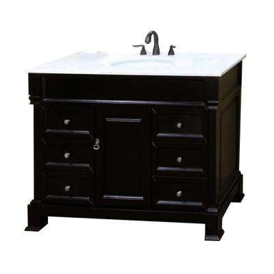 Olivia 50ES 50 in. Single Vanity in Espresso with Marble Vanity Top in White