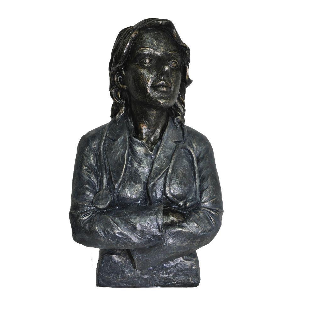 Doctor Female Statue Sculpture in Patina Black