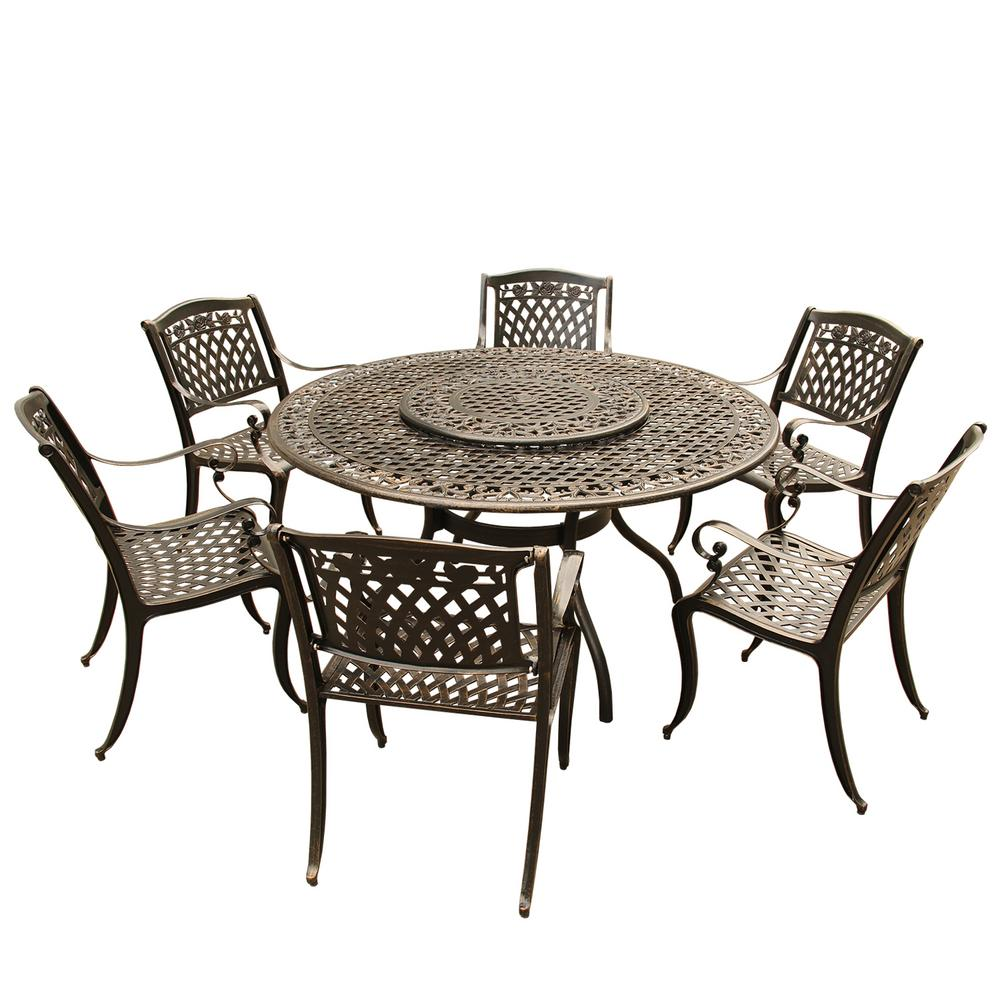 Rose Ornate Traditional 7 Piece Bronze Aluminum Round Outdoor Dining Set  With 6 Chairs
