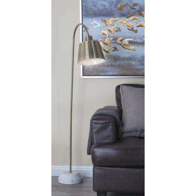 55 in. Modern Gold and White Bell Shaped Floor Task Lamp