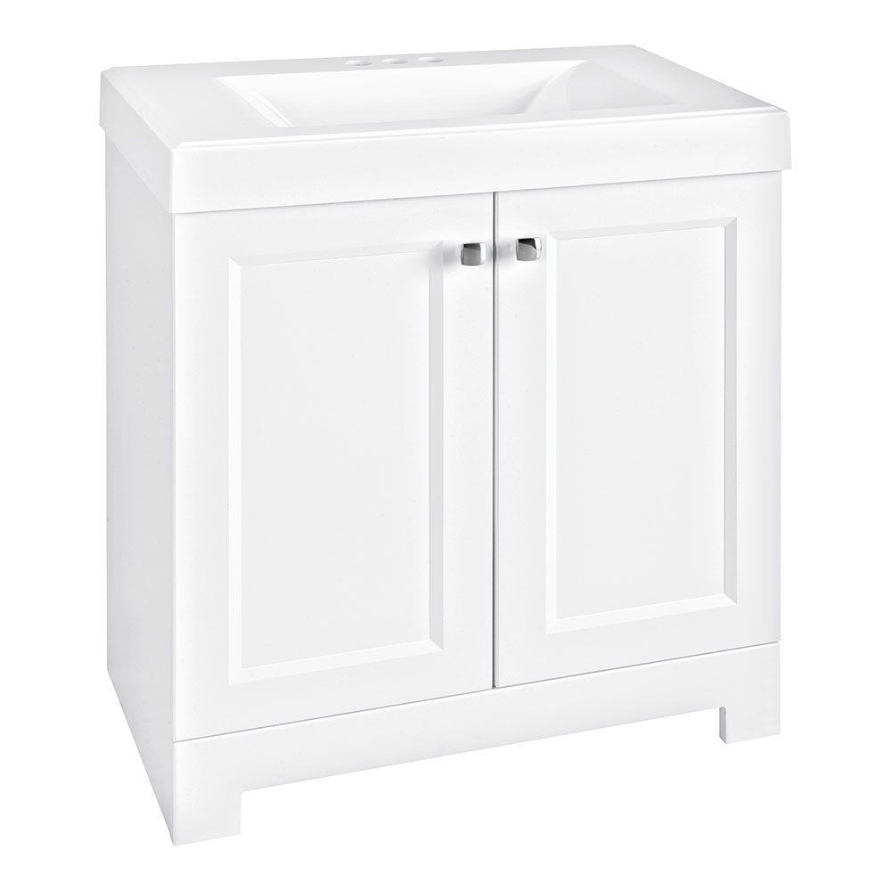 Shaila 30.5 in. W Bath Vanity in White with Cultured Marble Vanity Top in White with White Sink