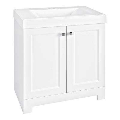 Shaila 30.5 in. W Bathroom Vanity in White with Cultured Marble Vanity Top in White with White Basin