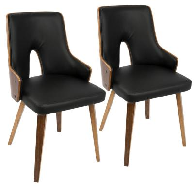 Stella Mid-Century Walnut and Black Modern Dining Chair Faux Leather (Set of 2)