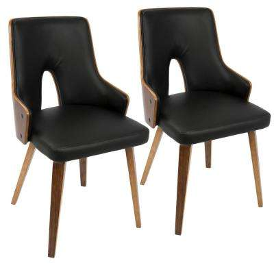 dd38c6c47e1 Stella Mid-Century Walnut and Black Modern Dining Chair Faux Leather (Set  of 2