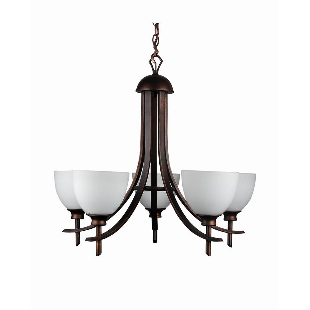 Cambridge 5-Light Oil-Rubbed Bronze Chandelier With Etched
