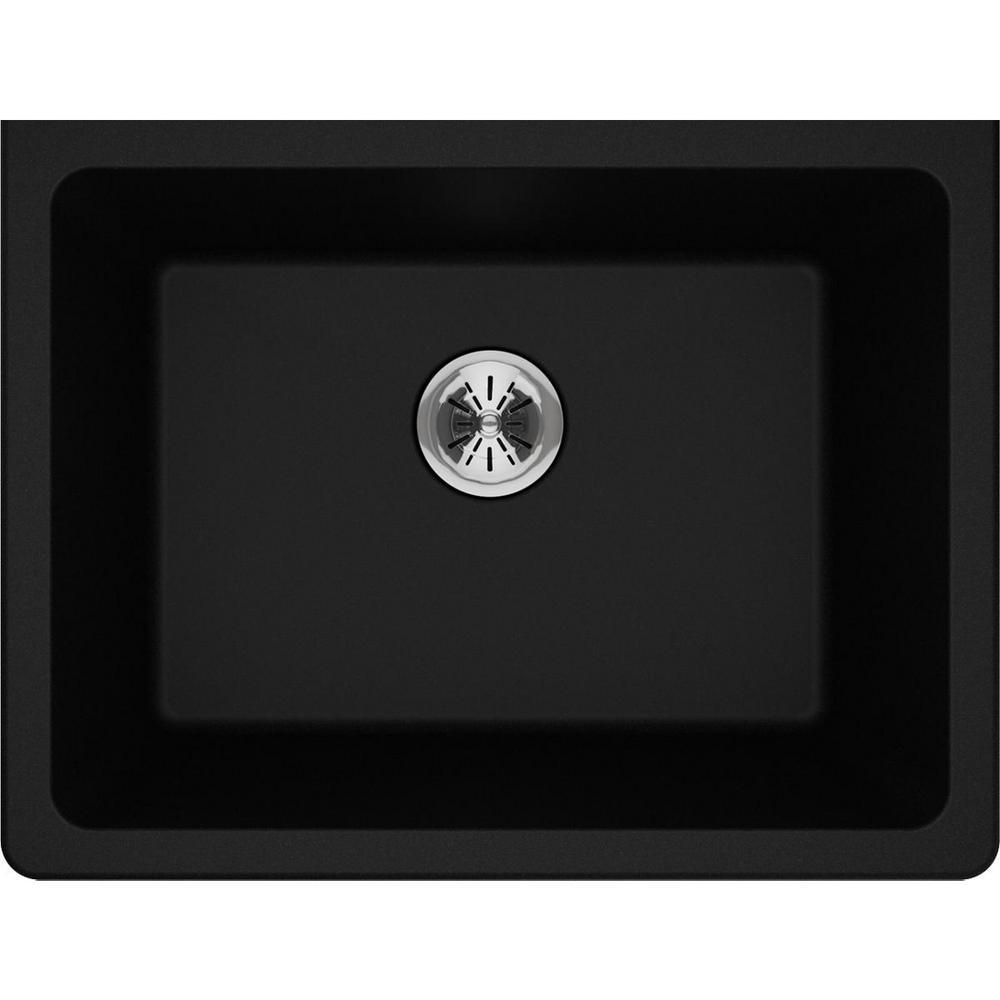 Quartz Classic Perfect Drain Undermount 25 in. Laundry Sink in Black