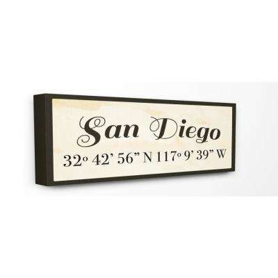 """10 in. x 24 in. """"Wood Cursive City Coordinates San Diego"""" by Daphne Polselli Printed Canvas Wall Art"""