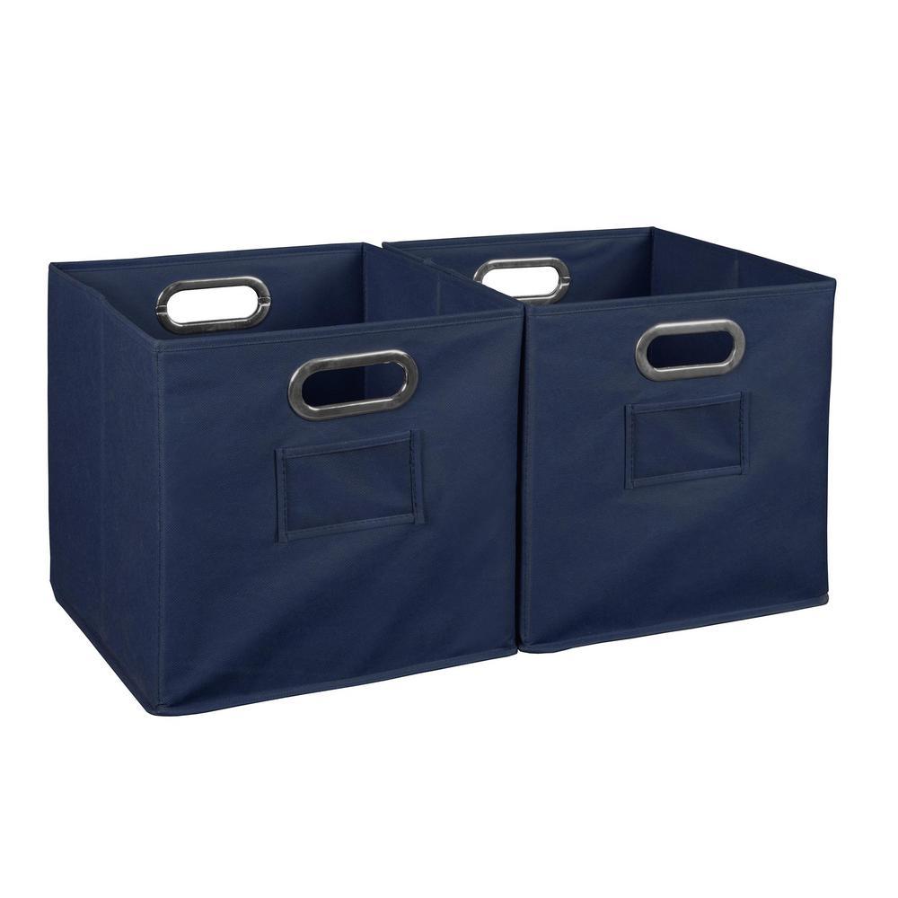 Cheer 12 in. D x  12 in. W x 12 in. H Blue Folding Fabric Bin (2-Pack)