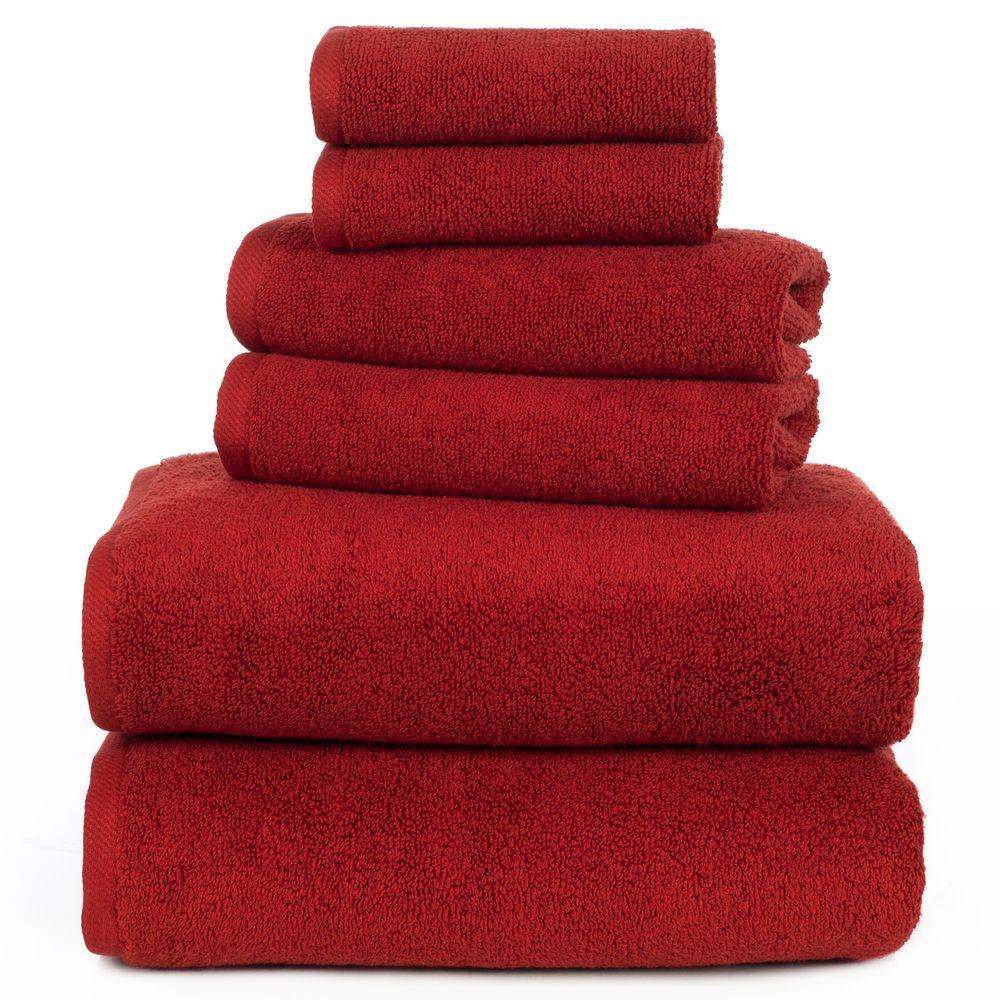 100% Egyptian Cotton Zero Twist Towel Set in Burgundy (6-Piece)