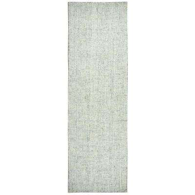 """London Collection Green 100% Wool 2'6"""" x 8' Hand-Tufted Solid Area Rug"""