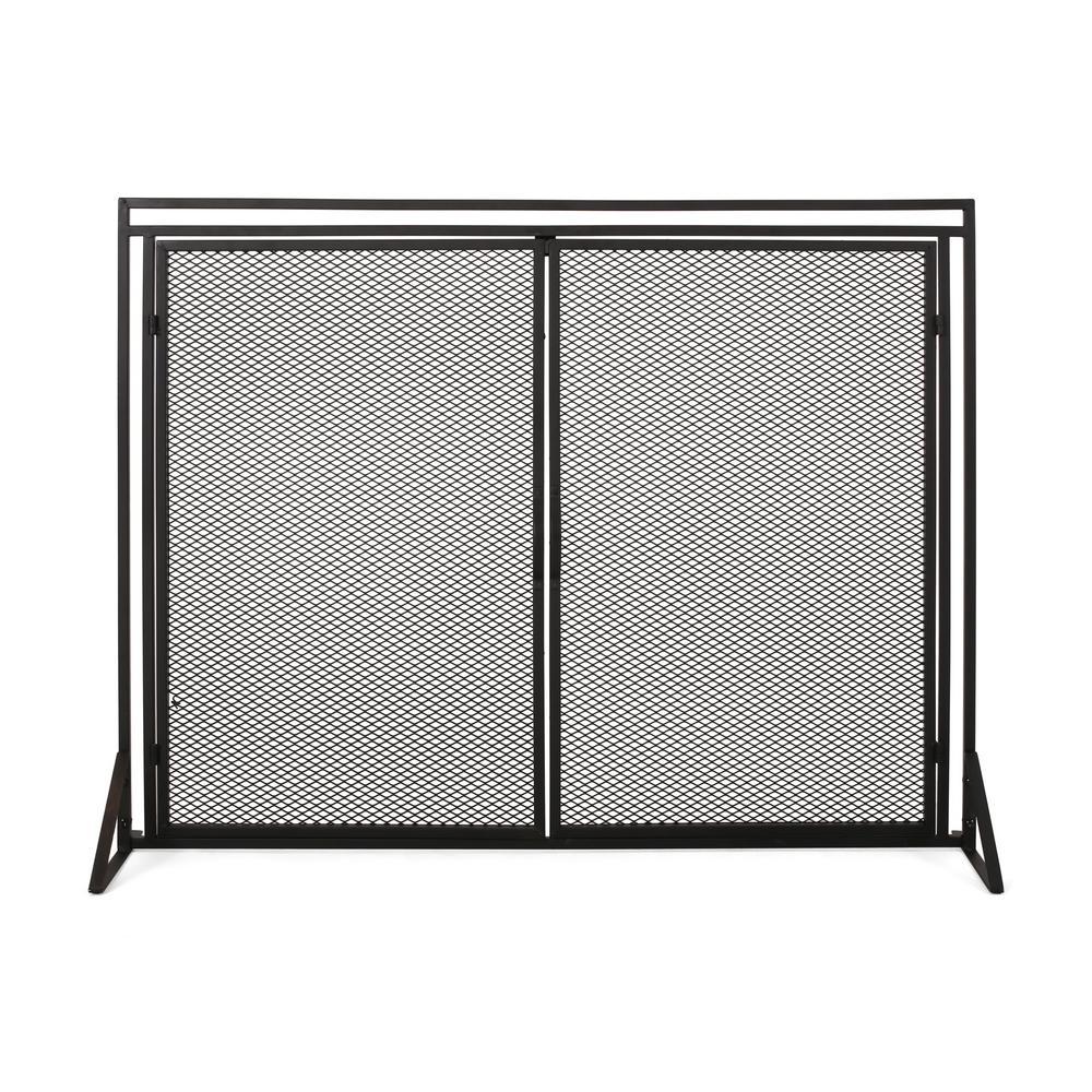 Cartwright Matte Black Metal 1-Panel Fireplace Screen