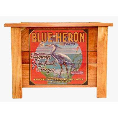 Hollis 22 in. Cedar Planter Box with Vintage Blue Heron Art
