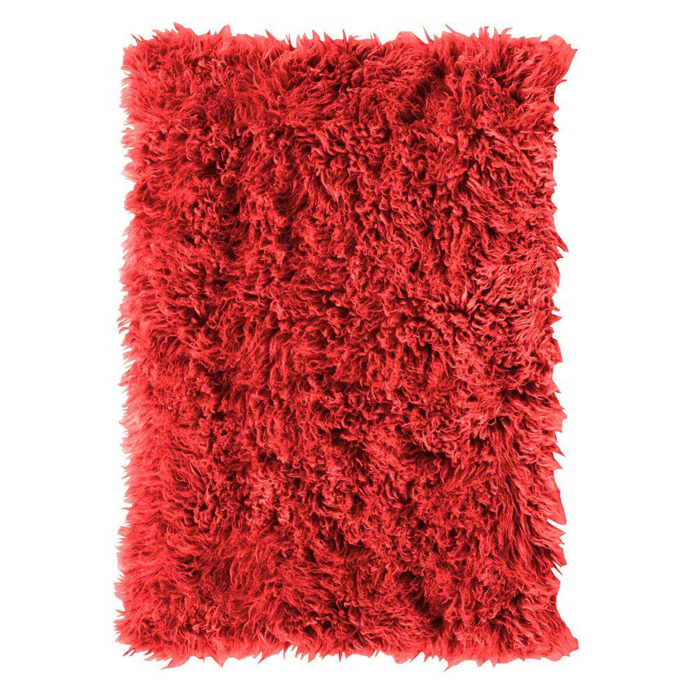 Home Decorators Collection Standard Flokati Red 5 ft. x 8 ft. Area Rug