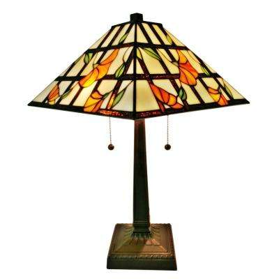 21 in. Tiffany Style Floral Finish Mission Table Lamp