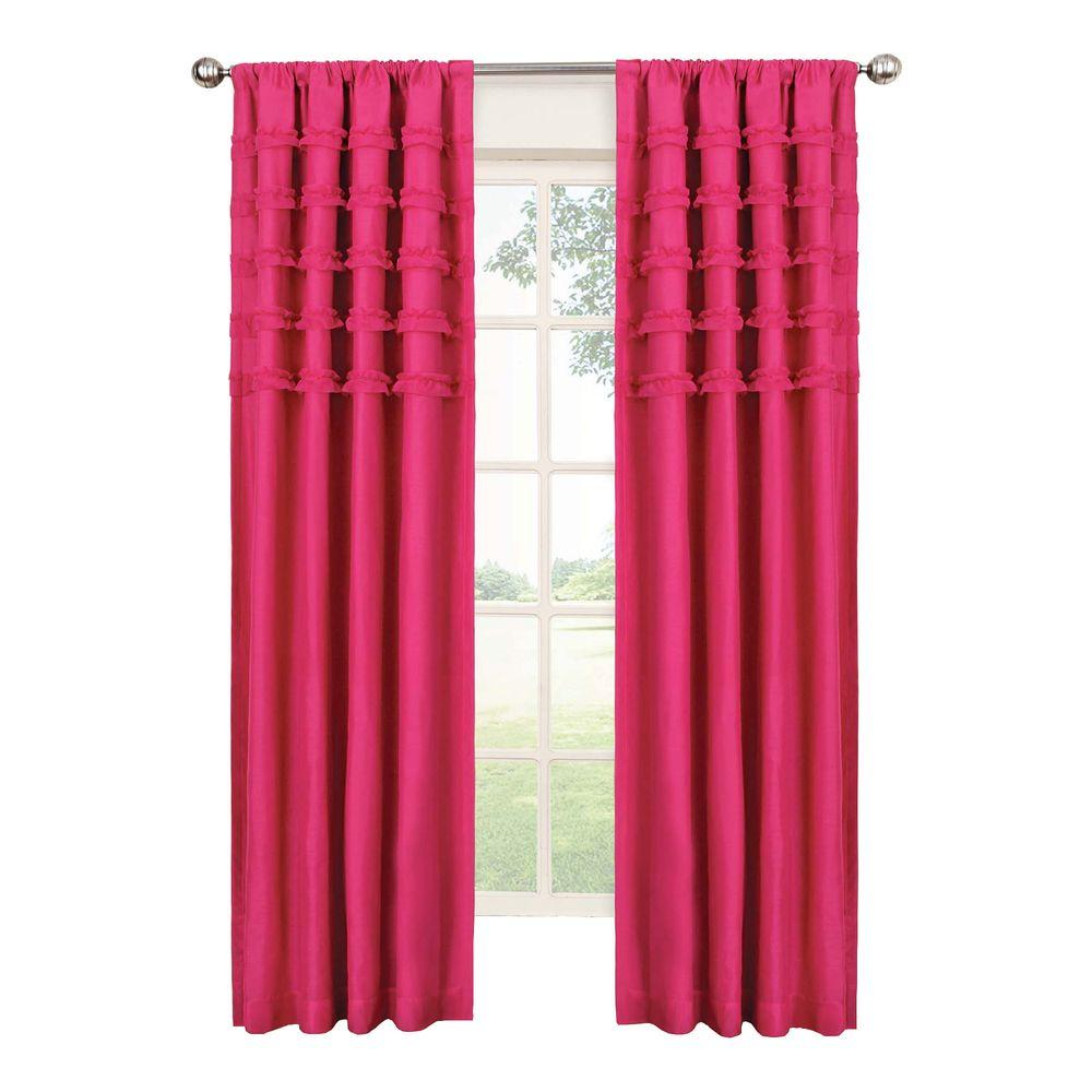 Blackout Ruffle Batiste Blackout Raspberry Polyester Rod Pocket Curtain, 84 in.