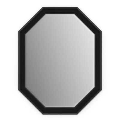 26 in. W x 34 in. H (M2) Framed Octagon Deluxe Glass Bathroom Vanity Mirror in Matte Black